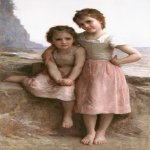 William Bouguereau (1825-1905)  Sur la Greve [On the Rocky Beach]  Oil on canvas, 1896  55 7/8 x 36 inches (142 x 91.5 cm)  Detroit Institute of Art
